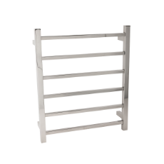 Towel Rail Heated 6 Bar 60W - 650x500 SQ 304SS